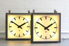 Large Light Up Factory Clocks By Pragotron Circa Industrial Clocks, Car Polish, Lead Acid Battery, Car Painting, Paint Pens, Tool Kit, Light Up, 1950s, Restoration