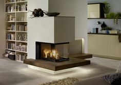 panoramic fireplace with ceramic bench panorama . panoramic fireplace with ceramic bench panoramic fireplace with ceramic b Interior Design Living Room, Living Room Decor, Inset Stoves, Chimney Decor, Sweden House, Lunch Room, Small Dining, Sweet Home, New Homes