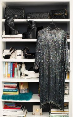 Inside Fashion Unfiltered's  founder and EIC Katharine Zarrella's closet: Bags, CHANEL; silver sequin embellished long-sleeve dress, Vintage; Boots, Alaia; Shoes, Miu Miu | coveteur.com