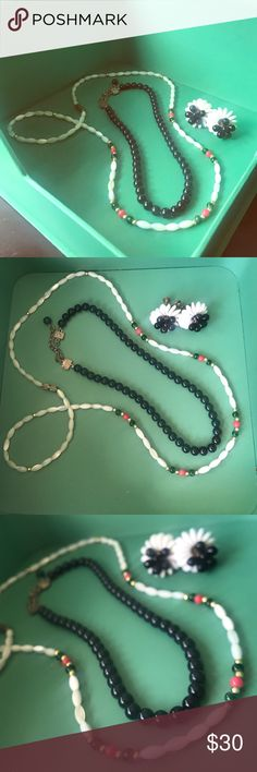 Vintage Jewelry Set 2 necklaces + 1 clip Ons All quality vintage pieces passed down but no markings so can't say what they are for certain. (Priced accordingly) Beads on white Necklace in particular are nice. Jewelry