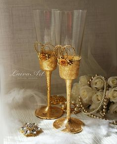 Gold Wedding Champagne Flutes Wedding Champagne Glasses Gatsby Style