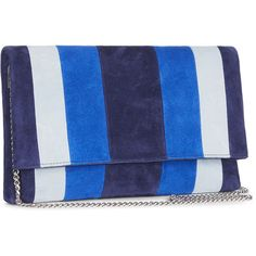 STRIPED BROMPTON CLUTCH (37.115 HUF) ❤ liked on Polyvore featuring bags, handbags, clutches, blue suede purse, blue purse, chain strap purse, suede clutches and suede handbags