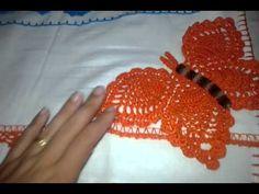 Barrado Pano de prato borboletas em crochê # Elisa Crochê - YouTube