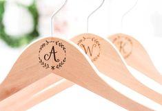 Personalized Bridesmaid Hangers, Engraved Laurel Wreath Wedding Hangers#afilliate