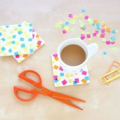 DIY coasters with confetti!