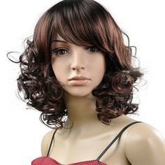 Short Curl Right Bang Hair Wig
