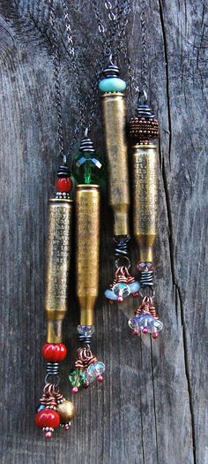 Cynthia Murray Design: Search results for Bullet she'll Ammo Jewelry, Metal Jewelry, Jewelry Crafts, Jewelry Art, Beaded Jewelry, Jewelry Design, Jewelry Ideas, Jewlery, Gothic Jewelry
