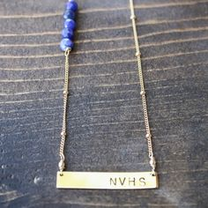 The Jessica Gold Bar Necklace with Beaded Accents - Gold Filled – Emprint Stamping