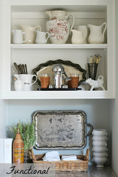 Whiteware Pitcher Collection, Perfect for Contemporary, Modern, and Traditional Home Decor, Antique and Vintage White Pottery Pitchers are one of my l Mantel Styling, Bookcase Styling, Cottage Kitchens, Home Kitchens, Kitchen Styling, Kitchen Decor, Kitchen Ideas, Traditional House, Home Accessories