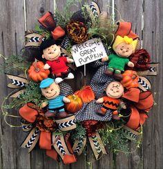 Halloween Wreath Fall Wreath Peanuts Wreath Snoopy by BaBamWreaths