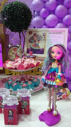 Ever After High para Maria Luiza Spa Birthday Parties, 8th Birthday, Ever After High, Festa Monster High, Ever After Dolls, Wonderland Party, Decoration, Scarlet, Birthdays