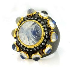 Moonstone and Diamond Statement Ring tobylynngems@aol.com