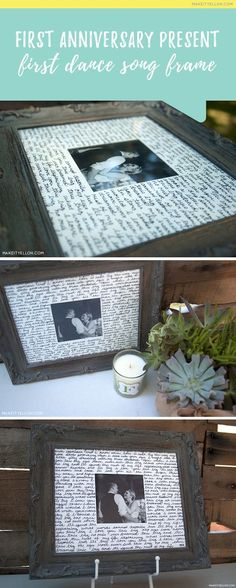 """This is such a cute idea for the traditional first anniversary theme """"Paper""""! - First Dance Song Lyrics Frame"""