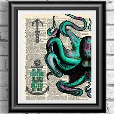 Blue Green Octopus art print on antique book page. Nautical home decor octopus dictionary book page. Wall art poster sail quotation seaside. by IntheFrameShop on Etsy https://www.etsy.com/listing/201720800/blue-green-octopus-art-print-on-antique