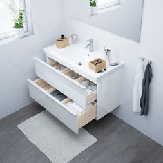 Cuba Oval, Steel Seal, Plastic Foil, Wash Stand, Plastic Drawers, White Stain, Ceramic Sink, Drawer Fronts, Small Bathroom