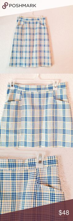 Vintage blue yellow white plaid Pencil skirt small Gorgeous and totally unique! Vintage pencil skirt with blue yellowing  and white plaid. It's from the Sweet Swinger brand. In excellent vintage condition. The size tag is faded and I cannot read it. I think it fits like a modern day small. But please check the measurements! Vintage Skirts Pencil