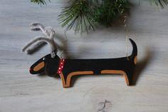 Black and Tan  Dachshund  Christmas Ornament by MaxMinnieandMe