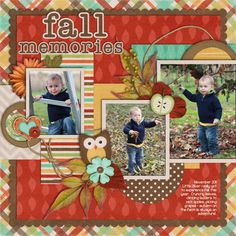 Fall Memories Layout...with owl cutout.
