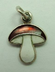 Sandys Vintage Charms: Small Silver & Enamel Lucky Toadstool Charm