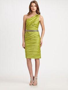 ML Monique Lhuillier Asymmetrical Taffeta Dress