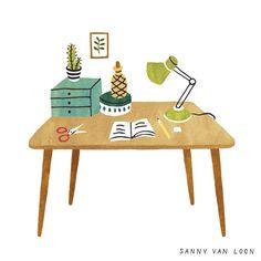 Illustration by Sanny van Loon from the book 'Creative Flow' • www.sannyvanloon.com | desk | workspace
