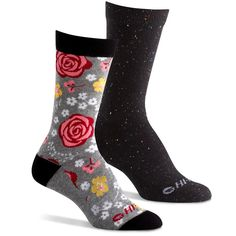 Hi-Tec Women's Comfort Lifestyle Casual Crew Socks with Designs (Pack of 2 Pairs) - Roses. PREMIUM COMFORT FIT: Cushion on the ball and heel of the foot provides extra protection and absorbs shock in high impact areas. Lightweight cotton and polyester blend will keep your feet cool, dry, and comfortable all day. ARCH SUPPORT: Hi-Tec Comfort Lifestyle Crew Socks feature arch compression for increased support and stability to reduce foot fatigue, hug your foot, and keep the sock in place...