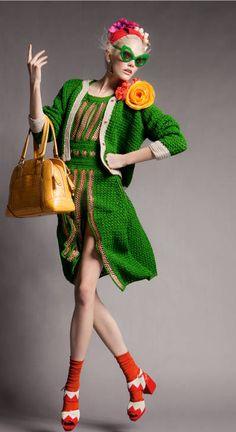green crochet dress with jacket! Vogue Portugal April 2012, picture by benjamin kanarek