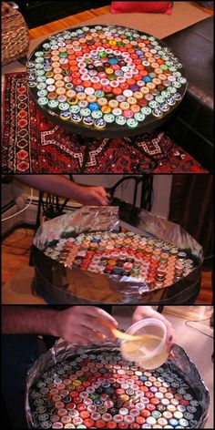 Presenting the DIY Bottle Cap Table!  http://theownerbuildernetwork.co/f99d  The perfect project for tables that have seen better days. Do you have a table that needs a makeover?