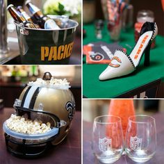 NFL's home-gating collection is awesome!! This popcorn filled helmet is unreal! NFL Sunday Social Party Pictures + Game Day Pinterest Table