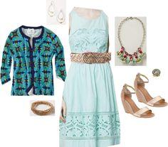 """Bottlegreen Dress/ Aquascope Cardi/ Candy Cluster Pendant Necklace"" by jennifoundinmycloset on Polyvore"