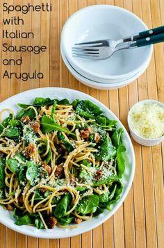 Spaghetti with Italian Sausage and Arugula   20 Creative Spaghetti Recipes - Babble