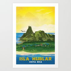 Isla Nublar Retro Jurassic Park Travel Poster Art Print by Forge22 - Steampunk Posters And Clocks - $16.00