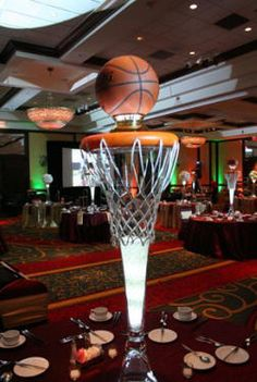 NBA Basketball Themed Wedding Reception Centerpiece