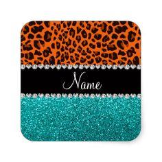 Personalized name orange leopard turquoise glitter sticker