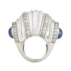 David Webb Fluted Rock Crystal, Cabochon Sapphires, Diamonds, Platinum and White Gold Ring