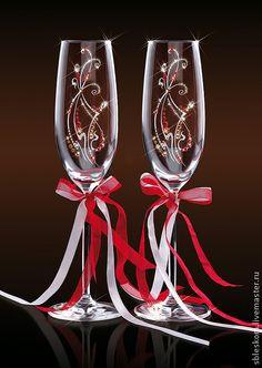 Подарки на свадьбу ручной работы. Ярмарка Мастеров - ручная работа Бокалы для шампанского Торжество, Swarovski. Handmade.