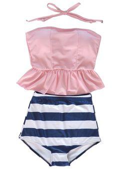 Women's Retro Vintage High Waisted Tankini Skirt Bikini Swimsuit Bath Suit Pink,Pink,M(US S)