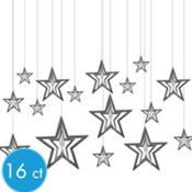 3D Silver Star Hanging Decorations 16ct