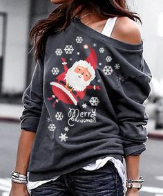 Merry Christmas Snowflake Santa Sweatshirt - Dark Grey trendiest dresses for any occasions, special event dresses, accessories and women clothing. Red Hoodie, White Hoodie, Christmas Snowflakes, Merry Christmas, Latest Fashion Clothes, Fashion Outfits, Turtleneck Sweatshirt, Trendy Outfits, Outfit Styles