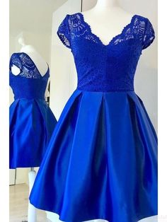 Royal  Blue Lace Bodice Satin  Homecoming Dresses(ED2528) Homecoming Dresses Knee Length, Homecoming Dress Stores, Royal Blue Homecoming Dresses, Pretty Prom Dresses, Prom Dresses Online, Prom Gowns, Graduation Dresses, Formal Gowns, Beautiful Dresses