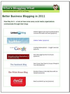 Who's Blogging What: Better #Business #Blogging in 2011   more at j.mp/madamme just click at image to download #free #ebook