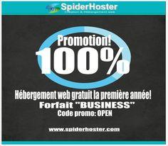 Participez à la promotion spiderhoster: Hébergement web 100% gratuit la première année à la commande du plan Business en utilisant le code promo OPEN!