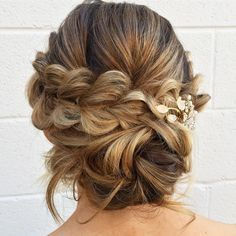 Pull-through-braid with a low messy bun in the back,updo hairstyles,messy updos #weddinghair #wedding #hairstyles #updowedding #weddinghairstyles