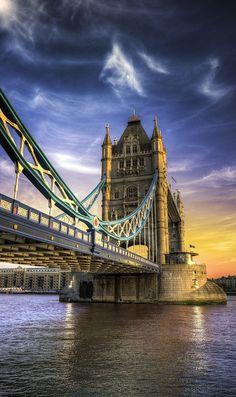 Sunset, Tower Bridge, London, England.