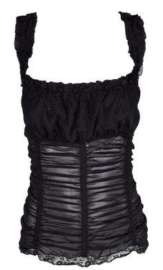 bf88cdf6e0 1997 Dolce   Gabbana Steampunk Pin-up Black Sheer Silk Ruched Corset Boning  Top