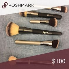 IT Cosmetics Makeup Brushes Looking to sell ALL TOGETHER!!!!!From Top to Bottom: 1. Air Brush (I used for blush) 2. Heavenly Luxe Complexion Master (I used for highlighter and bronzer) 3. Travel size powder foundation brush. 4. All over Foundation (used as a finisher (light powder, bronzer) 5. Powder Brush. All of these are amazing! Recently cleaned and when purchased will wash again! IT Cosmetics Makeup Brushes & Tools