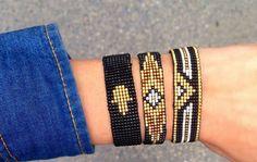 Thread Bracelets, Bead Loom Bracelets, Woven Bracelets, Bead Crochet Patterns, Beading Patterns, Loom Bracelet Patterns, Bijoux Diy, Bracelet Tutorial, Loom Beading