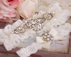 Lace Wedding Garter Set, Crystal Bridal Garter Set, Tulle and Lace Garter, Off White Lace Garter, Wedding Garter, Personalized Garters by GarterQueen on Etsy
