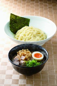 TSUKEMEN in Japanese, Dipping Hakata Ramen Noodles with Juicy Pork Cubes, Fine Boiled Egg, Crunchy Tempura Flakes and Negi Green Onion|博多づけ麺