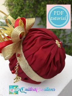 TUTORIAL, draped ball quilted ornament pattern, original design no sew quilted ornament, step by step instructions, DIY quilted ornament Quilted Christmas Ornaments, Christmas Diy, Fabric Ribbon, Fabric Flowers, Handmade Shop, Handmade Gifts, Etsy Handmade, Origami, Art And Craft